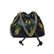 Espeedy Women Mini Messenger Bag Chain Drawstring Embroidery Thread Pineapple Pattern Handbag PU Leather Mini Crossbody Single Shoulder Bag Cellphone Pouch Messenger Phone Bag