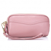 MeiliYH Ladies Leather Double Handle Bag Zipper Mobile Phone Bag Small Purse Bag for Women