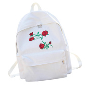 squarex_Women Girls Canvas Embroidery Flowers School Bag Travel Backpack Bag
