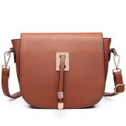 Miss Lulu Fashion Girls Crossbody Shoulder Bag Cute Design Faux Leather Handbag Brown