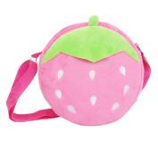 Bigood Kids Girls Boys Cute Animal Strawberry Short Plush Cross Body Shoulder Bag Pink