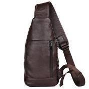 kinokoo Mens Sling Bags Chest Bag Genuine Leather Backpack