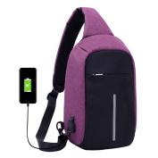 Super Modern Unisex USB Charger Port Nylon Shoulder Bag Anti-Theft Bag Cross Body Bag Smart Travel Bag Sports Bag with Removable Strap