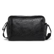 Hengwin Pretty Durable Men Soft PU Leather Shoulder Bag Cross Body Bag for work travel - Black