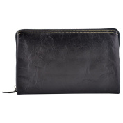 Made In Italy Genuine Leather Unisex Clutch Colour Black Tuscan Leather - Man Bag