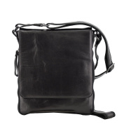 Made In Italy Genuine Leather Crossbody Man Bag Colour Black Tuscan Leather - Man Bag