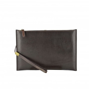 Made In Italy Genuine Leather Clutch Colour Dark Brown Tuscan Leather - Man Bag