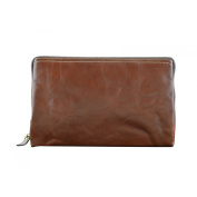 Made In Italy Genuine Leather Unisex Clutch Colour Brown Tuscan Leather - Man Bag