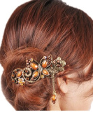 Coffe Women's Vintage Style Butterfly Inlaid Bead Beaded Hair Pin Clip Barrette for Long Hair Ponytail
