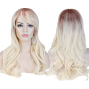 Womens Wigs Long Curly Full Head Wig Blond Red Mix Ombre Synthetic Hair Natural Fashionable Heat Resistant Wigs
