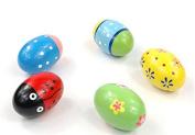 JinZhiCheng Shake Sand Egg Educational Wooden Rattle Egg Baby