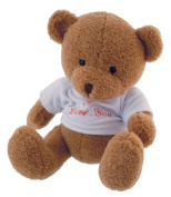 "'Bieco 04601557 Elias Plush Bear, Light Brown, approx. 29 cm with ""I Love You T-Shirt, Brown"