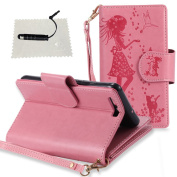 Case for Huawei P10,Huawei P10 Leather Case, TOCASO [Lifetime Warranty] Folio Leather Wallet Case with [Kickstand] [Card Slots] [Magnetic Closure] Flip Book Cover Case Embossed Floral Girl Hang Rope Holster for Huawei P10- Pink
