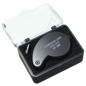 Yiwa 40 x 25MM Mini Lightweight Jeweller Eye Watch Magnifier Glass LED Light Magnifying Jewellery Loupe Black
