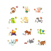 Cartoon Animals Nursery Wall Sticker Various Animals Monkey Sheep Pig Pattern Wall Decals