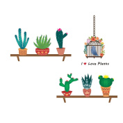 Cute Cactus Birdcage Patterns Wall Stickers Removable Cartoon Wall Decals