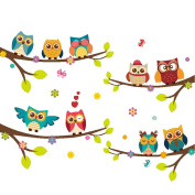 Cartoon Owl Tree Branches Wall Stickers Removable Wall Decals Kids Room Decor