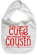 IiE, If you think I'm Cute You Should See My Cousin by Image is Everything – Unisex Feeding Bib, White