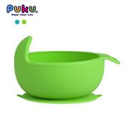Puku Non-Skid Tableware Original Silicone Suction Bowl Arc-shaped Design Baby Feeding Tableware for Toddler Baby Children Temperature Sensing