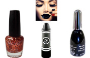 Black & Bronze Orange Glitter Varnish Set with Black Lipstick 3pc Set