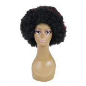 Afro Short Wig Jumbo synthetic Curly Red wine hair wig with free wig cap