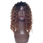 Fouriding Women's Mid-Length Kinky Curly Wig Curly Full Hair Fashion No Bangs Wigs Hairpiece Cosplay Party Daily Fancy Dress with Wig Cap