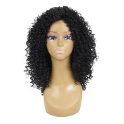 Medium Afro Kinky Curly Wigs Shoulder Length Synthetic Kanekalon Wigs With Free Wig Cap