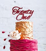 Twenty One Cake Topper - 21st Cake Topper - Swirly Font - Glitter Dark Pink Cake Topper