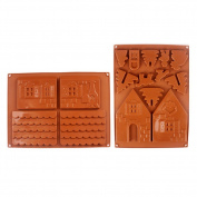 ROKOO 2 Pcs/Set 3D Christmas Gingerbread House Silicone Mould Chocolate Cake Mould DIY Biscuits Baking Tools