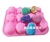 12 Holes Animals Silicone DIY Handmade Soap Cake Cookie Ice Tray Moulds Kitchen Tools by Clest F & H