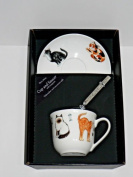 Cats cup and saucer set, bone china gift boxed set wtih teaspoon