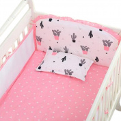 Set of 4 Nursery Baby bassinet/Crib Bedding Bumper Crashproof Cushion PINK