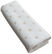 GLOOP. Cotton Muslin Swaddle Hearts 100 x 100 cm