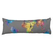 World Map Body Cushion Covers 20 x 54 Decorative Body Pillow Cover Case for Bed