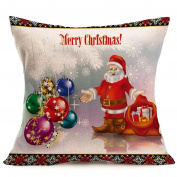 "CHshe Xmas Soft Pillow Case, Kawaii Cartoon Pattern Print ""Merry Christmas"" Linen Cushion Covers"