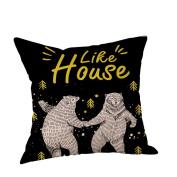 CHshe Like House Pillow Case, Eco-Friendly Kawaii Cartoon Pattern Print Cotton Linen Cushion