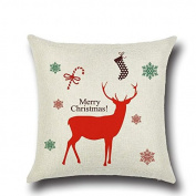 Kicode Lovely Cotton Linen Christmas Deer Pillow Case Cushion Cover Bed Sofa Car Decor Xmas Gift Soft