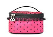 Fletion Polka Dot Lace Professional Cosmetics Bags New Handbags High Capacity Portable Storage Bag