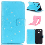 Ekakashop Huawei P9 Lite Luxury Diamond Embossing solid colour Book Wallet Flip Leather case cover shell with 1x Kickstand (Colours Random) - C#17