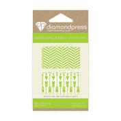 "Diamond Press ""Arrow and Mix Stripe"" Embossing Folder, Clear"