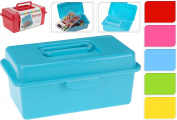 Plastic DIY Arts Crafts Tool Storage Box with Handle and Internal Top Tray