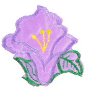 Clothing Decor Flower Embroidered Applique Fabric Patch Stciker Purple