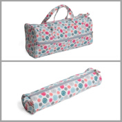 Matching Set - Knitting Bag (fabric handles) & Knitting Pin Soft Case - Scattered Buttons