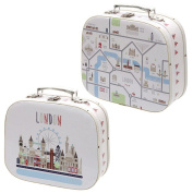 Decorative London Map Design Craft Cases - Set of 2