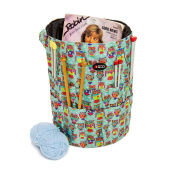 Knitting Bucket Bag, Sewing Accessories And Craft Needle Storage Organiser In Funky Owl