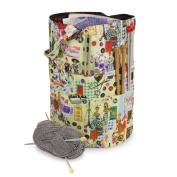 Knitting Bucket Bag, Sewing Accessories And Craft Needle Storage Organiser In Retro