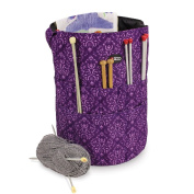 Knitting Bucket Bag, Sewing Accessories And Craft Needle Storage Organiser In Imperial Purple