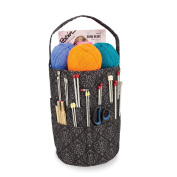 Knitting Bucket Bag, Sewing Accessories And Craft Needle Storage Organiser In Imperial Black