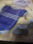 Stylecraft Lullaby DK Knitting Pattern 9177 Romper Hat & Booties. Size Birth - 6 Months. 31-41cm (12-16 inch).