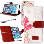 Urvoix For Apple 12cm iPhone 6/6S, Butterfly Ring PU Leather Credit Card Holder Flip Stand Wallet Case Cover for iPhone 6 6S